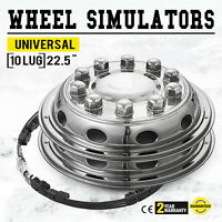 "22.5 "" Wheel Simulators Hubcaps 10 LUG Universal Set 4 Stainless Steel RIM Bus"