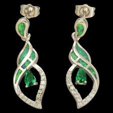 3x5mm Pear Cut Emerald Kiwi Green Fire Opal Silver Jewelry Drop Pierced Earrings