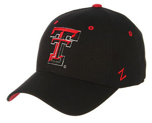 TEXAS TECH RED RAIDERS NCAA BLACK FITTED SIZED ZEPHYR DH STYLE CAP HAT NEW!