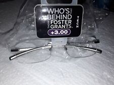 FOSTER GRANT READING GLASSES +3.00  NEW IN PACK