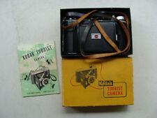 Vintage Kodak Tourist Camera Flash Kodon Shutter Kodet Lens w/ Box, Manual