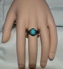 GLAMOROUS . GENIUNE TURQUOISE & 6 SMALL GENIUNE BLUE DIAMOND COCKTAIL RING