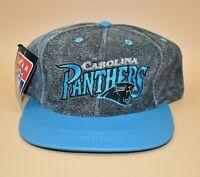 Carolina Panthers NFL Team Vintage 90's Modern Brand Leather Snapback Cap Hat