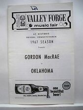 OKLAHOMA Playbill GORDON MacRAE / JOLEEN FODOR / JEAN SINCERE Valley Forge 1967