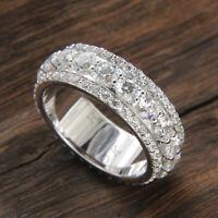 Men's Real 10k White Gold 2 Ct Round Cut Diamond Eternity Wedding Band Ring