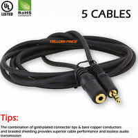 "25ft 3.5mm 1/8"" Stereo Audio Aux Headphone Extension Cable Cord Male to Female"