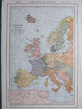 1926 MAP ~ EUROPE WESTERN PART BRITISH ISLES FRANCE SPAIN ITALY GERMANY