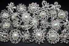 24pc/lot Mixed Silver Pearl Rhinestone Crystal Brooches Pins DIY Wedding Bouquet