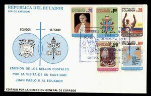 DR WHO 1985 ECUADOR FDC POPE JOHN PAUL II VISIT CACHET COMBO  g21925