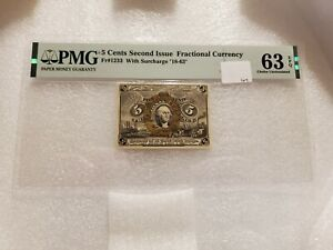 5 Cents Second Issue Fractional Currency Fr#1233 PMG 63 EPQ Choice Uncirculated
