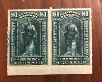 "STAMPS US SCOTT R173 PAIR 1 DOLLAR ""Documentary - Allegory of Commerce"" 1898 H"
