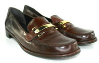 Stuart Weitzman Women's Brown Slip-On Loafers Gold Horse Bit Size 9.5 M