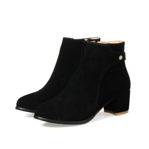 Classic Women Casual Chelsea Chunky Mid Heel Round Toe Ankle Boots Office Shoes