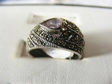 Tear drop Amethyst stone with Marcasite cz polish, 925 sterling silver Ring