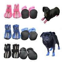 Small Dog Soft Shoes Boots S M L XL Pink, Blue Black Pet Paw Protection Booties