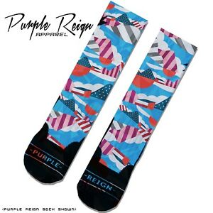 "NIKE AIR MAX x PARRA ""Pure Platinum"" Custom Premium Socks (ALL SZ) ZOOM SPIRIDON"