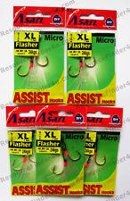 5 Packs ASARI, XL Flasher Assist hooks, 24kg, Snapper,Tuna, Salmon, Bass