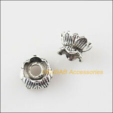 45Pcs Tibetan Silver Tone Lotus Flowers Spacer Beads Charms 8mm