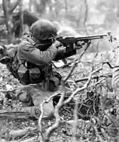WWII B&W Photo US Marine with Browning BAR Pacific Theatre  WW2 World War / 1155