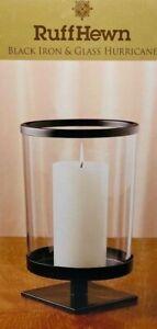 Ruff Hewn Hurricane Pillar Candle Holder rustic black iron & glass 9.5x4.75 NIB