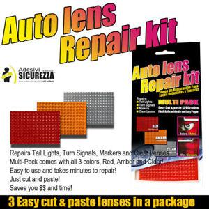 Kit adesivo riparazione crepe del vetro fanali fari e frecce auto moto 3 colori