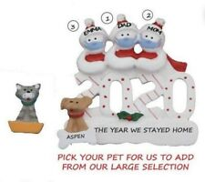 Personalized Quarantine 2020 Snowman Family 3 w/ Dog or Cat Christmas Ornament