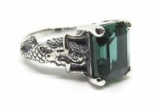 Size 9 Emerald Mermaid Ring Sterling Silver Antique Vintage Style Mythological