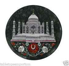 "14"" Marble Small Coffee Round Table Top Tajmahal Inlay Design Outdoor Home Decor"