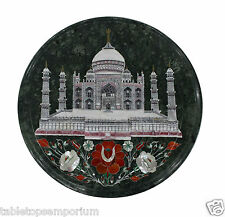 "14"" Black Marble Coffee Round Table Top Taj Mahal Inlay Floral Hallway Decor"