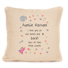 Auntie I Love You To The Moon And Back Cushion Present For Aunty