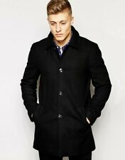 * Stanley Adams Woolen Mac Slim Button up Lapel Coat Jacket Black LARGE 5-31