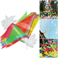 50m 100pcs Pennant Flags Multi Coloured Bunting Silk Banner Party Decor Outdoor