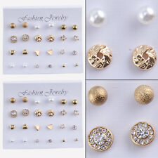 12 Pairs Fashion Women Earrings Set Rhinestone Crystal Pearl Ear Stud Jewelry