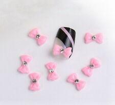 20pcs Pink Acrylic 3D Flower Bow Tie UV Gel Nail Art Tips Rhinestone Sticker Hot