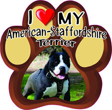 I Love My American-Staffordshire Terrier Cute Dog Bumper sticker Paw #201