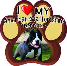 I LOVE MY AMERICAN-STAFFORDSHIRE TERRIER Cute Dog Bumper sticker PAW #201