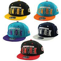 F N. YOUTH KIDS 2 Tone Capital NEW YORK NY SNAPBACK Flat Peak Cap Hat Snap Back