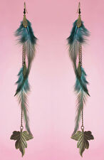 F1918 light floss long Feather bronze leaf chain dangle cute earrings New Hot