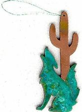COPPERCUTTS Coyote Cactus Ornament SouthWest Copper w/ Choice of Primary Color!