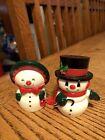 Vintage Hallmark Happy & Merry Mr & Mrs Frosty Snowman Salt Pepper Shakers