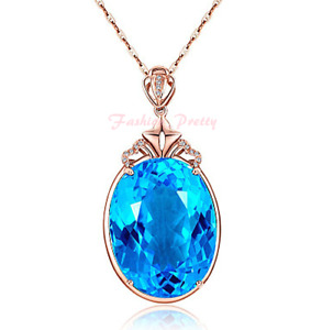 8 Carat Blue Topaz & CZ Necklace In 14K Rose Gold Over Sterling Silver, 18 Inch