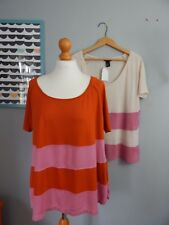 New - H&M - Set of Two Striped Tops - Cream, Pink and Orange / Red - Size M