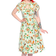 Banned Apparel Butterfly & Flowers Tropical 50s Vintage Pinup Light Green Dress
