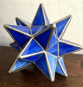 3-D Vintage Handmade Blue Hollow Glass Star Suncatcher Stained Glass