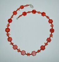 Vintage red coral necklace with sterling silver clasp