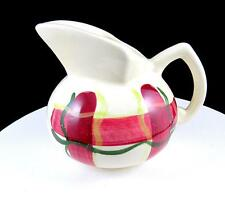"PURINTON POTTERY NORMANDY PLAID RED GREEN AND YELLOW 4 3/8"" CREAMER 1955"