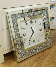 Gatsby Modern Diamante Crush Crystal Mirror Glass Square Wall Clock 50cm Silver