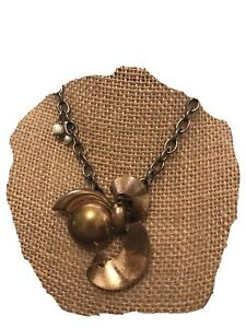 Artisan industrial Chic Vintage Statement Necklace;Mixed Metals;Pearls;Edgy