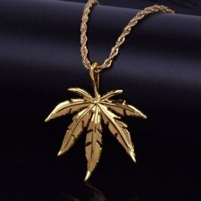 Gold Mens Hip Hop Weed Marijuana Stainless Steel Rope Chain Pendant Necklace