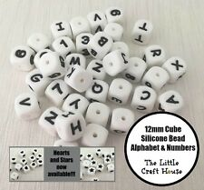 10PC 12mm Silicone Bead Cube Letters Numbers Dice Beads (was teething) Alphabet